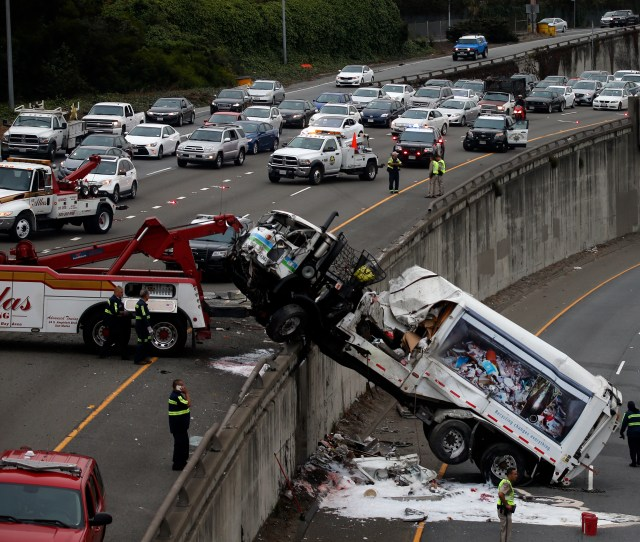 A Garbage Truck Crash Close Interstate 280 Near The Alemany Boulevard Exit In San Francisco California Thursday Aug 10 2017 Karl Mondon Bay Area News