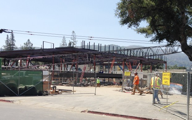 Photograph by Judy Peterson/Bay Area News Group/Aug. 7, 2017Construction of Los Gatos High School's new classroom building progressed significantly this summer, with the foundation completed, underground utilities installed and the building's steel structure reaching to the sky. The classroom building and adjacent music building are expected to be completed by August 2018.