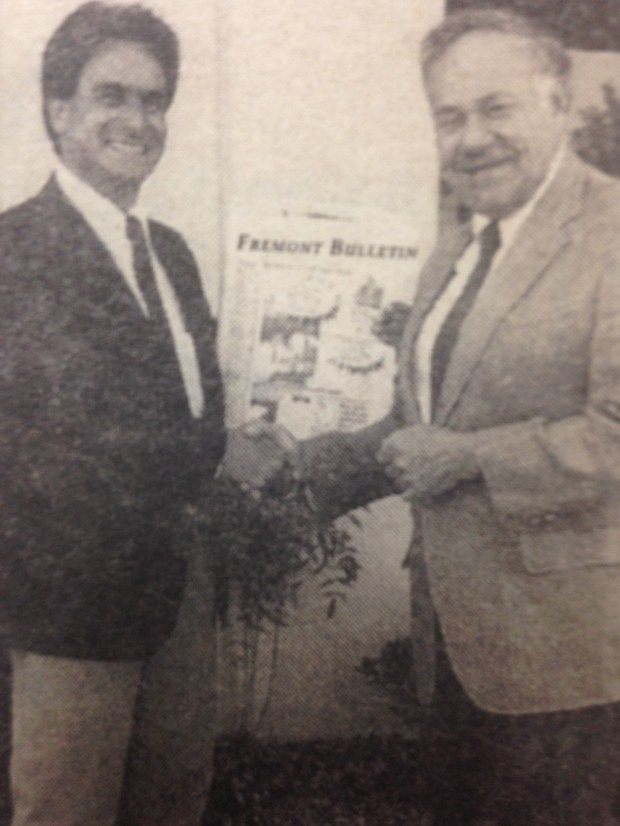 "Milpitas Post co-publishers James ""Jimmy"" Chamoures, left, and Mort Levine are seen here in the mid-1990s. The partners worked to improve the weekly Post paper and eventually launched the Fremont Bulletin, now The Argus, a weekly that covers the Fremont, Union City and Newark communities. Post file photo"