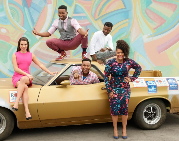 "THE MAYOR - ABC's ""The Mayor"" stars Lea Michele as Valentina Barella, Brandon Micheal Hall as Courtney Rose, Marcel Spears as T.K. Clifton, Bernard David Jones as Jermaine Leforge and Yvette Nicole Brown as Dina Rose. (ABC/Bob D'Amico)"