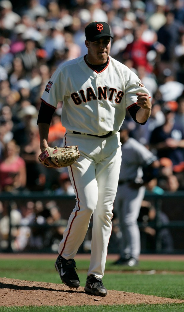 Giants' relief pitcher Jack Taschner pumps his fist after closing out the game in the ninth inning against the Yankees at AT&T Park in San Francisco, Calif. on Saturday, June 24, 2007. The San Francisco Giants beat the New York Yankees, 7-2. (Jim Gensheimer/Mercury News)