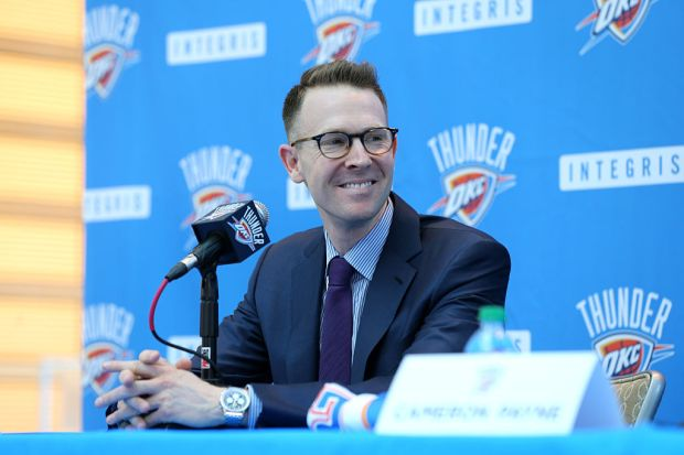 Sam Presti of the Oklahoma City Thunder speaks to the media on June 27, 2015 at Devon Tower in Oklahoma City, Oklahoma. NOTE TO USER: User expressly acknowledges and agrees that, by downloading and or using this Photograph, user is consenting to the terms and conditions of the Getty Images License Agreement. Mandatory Copyright Notice: Copyright 2015 NBAE (Photo by Layne Murdoch/NBAE via Getty Images)