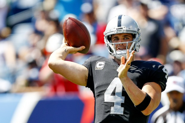 Derek Carr and the Raiders face the New York Jets on Sunday. (Photo by Wesley Hitt/Getty Images)