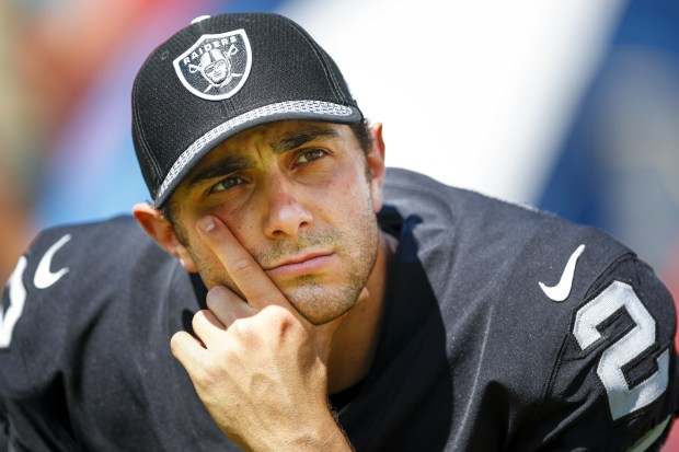 NASHVILLE, TN- SEPTEMBER 10: Kicker Giorgio Tavecchio #2 of the Oakland Raiders looks on in the second half at Nissan Stadium on September 10, 2017 In Nashville, Tennessee. (Photo by Wesley Hitt/Getty Images) )