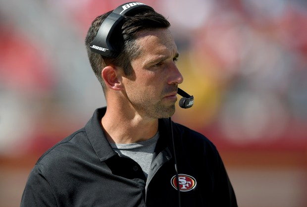 SANTA CLARA, CA - SEPTEMBER 10: Head coach Kyle Shanahan of the San Francisco 49ers looks on from the sidelines against the Carolina Panthers during the third quarter of their NFL football game at Levi's Stadium on September 10, 2017 in Santa Clara, California. (Photo by Thearon W. Henderson/Getty Images)