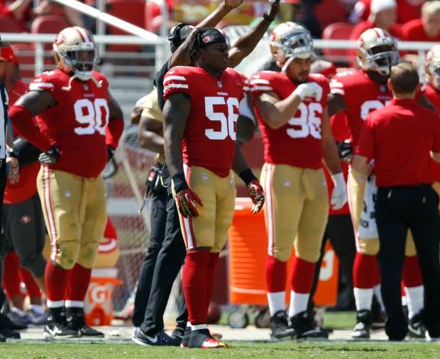 San Francisco 49ers' Reuben Foster (56) stands on the sidelines during their game against the Carolina Panthers in the second quarter of their NFL game at Levi's Stadium in Santa Clara, Calif., on Sunday, September 10, 2017. (Nhat V. Meyer/Bay Area News Group)