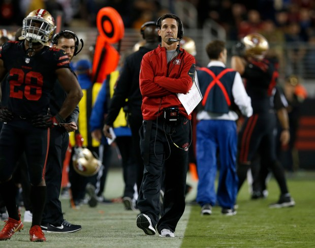 San Francisco 49ers head coach Kyle Shanahan walks on the sidelines after the 49ers failed to convert a fourth down against the Los Angeles Rams late in the fourth quarter of their NFL game at Levi's Stadium in Santa Clara, Calif., on Thursday, September 21, 2017. (Nhat V. Meyer/Bay Area News Group)