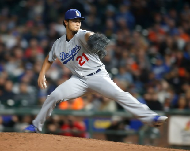 Los Angeles Dodgers starting pitcher Yu Darvish (21) throws against the San Francisco Giants in the fifth inning at AT&T Park in San Francisco, Calif., on Wednesday, September 13, 2017. (Nhat V. Meyer/Bay Area News Group)
