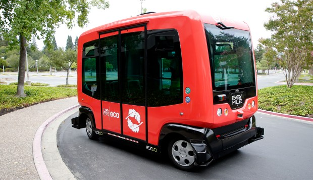 An autonomous shuttle bus is photographed at Bishop Ranch on Thursday, Sept. 7, 2017, in San Ramon, Calif. Bishop Ranch is currently testing the automated shuttles and plans to use them at their San Ramon office parks. (Aric Crabb/Bay Area News Group)