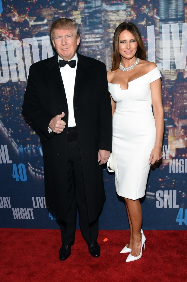NEW YORK, NY - FEBRUARY 15: Donald Trump (L) and Melania Trump attend SNL 40th Anniversary Celebration at Rockefeller Plaza on February 15, 2015 in New York City. (Photo by Larry Busacca/Getty Images)