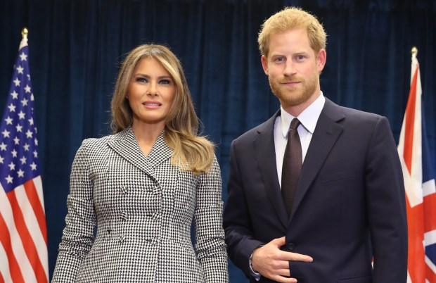 TORONTO, ON - SEPTEMBER 23: Prince Harry poses with U.S. first lady Melania Trump for the first time as she leads the USA team delegation ahead of the Invictus Games 2017 on September 23, 2017 in Toronto, Canada (Photo by Chris Jackson/Getty Images for the Invictus Games Foundation )