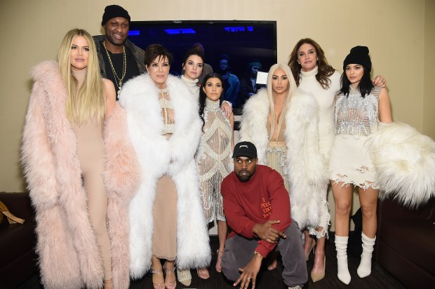 NEW YORK, NY - FEBRUARY 11: (L-R) Khloe Kardashian, Lamar Odom, Kris Jenner, Kendall Jenner, Kourtney Kardashian, Kanye West, Kim Kardashian, Caitlyn Jenner and Kylie Jenner attend Kanye West Yeezy Season 3 on February 11, 2016 in New York City. (Photo by Jamie McCarthy/Getty Images for Yeezy Season 3)