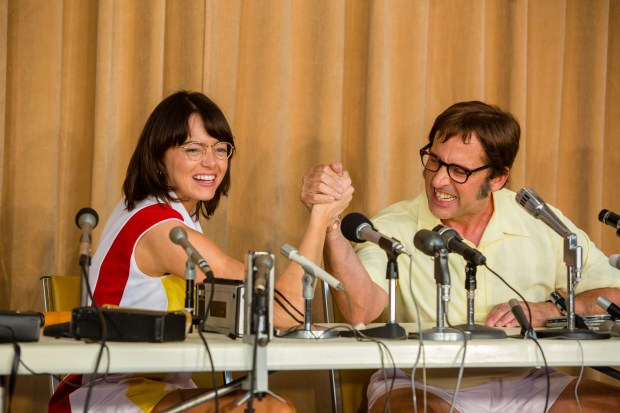 "Emma Stone, left, and Steve Carell in a scene from ""Battle of the Sexes."" (Melinda Sue Gordon/Fox Searchlight Pictures"