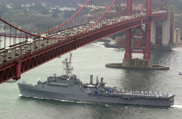 -- DATE TAKEN: 10/6/2000--- A Navy ship glides under Golden Gate Bridge as part of fleet week. Sailors line the decks. --- Frankie Frost --- Marin IJ -