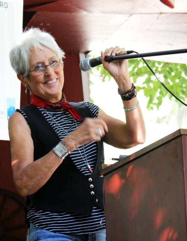 Joan Baez, 76, who was recently inducted into the Rock and Roll Hall of Fame, talked about the importance of preservation at a Committee for GreenFoothills meeting where she was honored on Sept. 24, 2017 at Coyote Ranch near San Jose./Contributed by Ian Webb-Harding