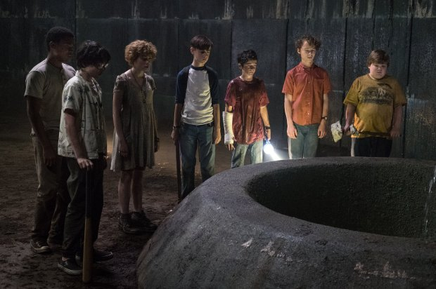 "CHOSEN JACOBS as Mike Hanlon, FINN WOLFHARD as Richie Tozier SOPHIA LILLISas Beverly Marsh, JAEDEN LIEBERHER as Bill Denbrough, JACK DYLAN GRAZER as Eddie Kaspbrak, WYATT OLEFF as Stanley Uris and JEREMY RAY TAYLOR as Ben Hanscom in New Line Cinema's horror thriller ""IT."" (Brooke Palmer)"