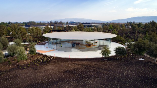 The Steve Jobs Theater in the Apple Park campus is being readied for Apple's next special event in Cupertino, California, on Thursday, September 7, 2017. (LiPo Ching/Bay Area News Group)