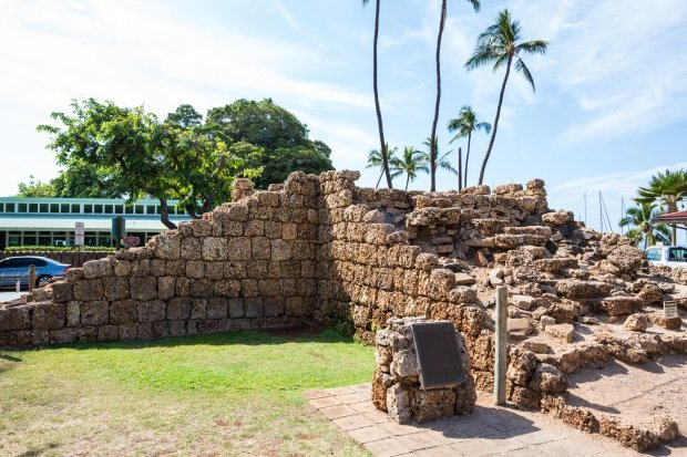 Built from coral blocks, the 20-foot tall walls of the Old Fort were toppedwith 47 cannons. What you see here now is a partial reconstruction, done in 1964. (Hawaii Tourism Authority)