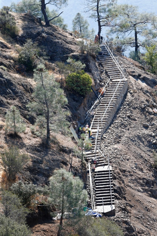 A stairway along the Mount Umunhum trail is under construction just below the summit of Mount Umunhum in Los Gatos, California, on Monday, Sept. 11, 2017. The Midpeninsula Regional Open Space District officially opens a new park at the summit to the public following more than six years and $25 million of planning, demolition, construction and rebuilding the five-mile-long road to the top. (Gary Reyes/ Bay Area News Group)