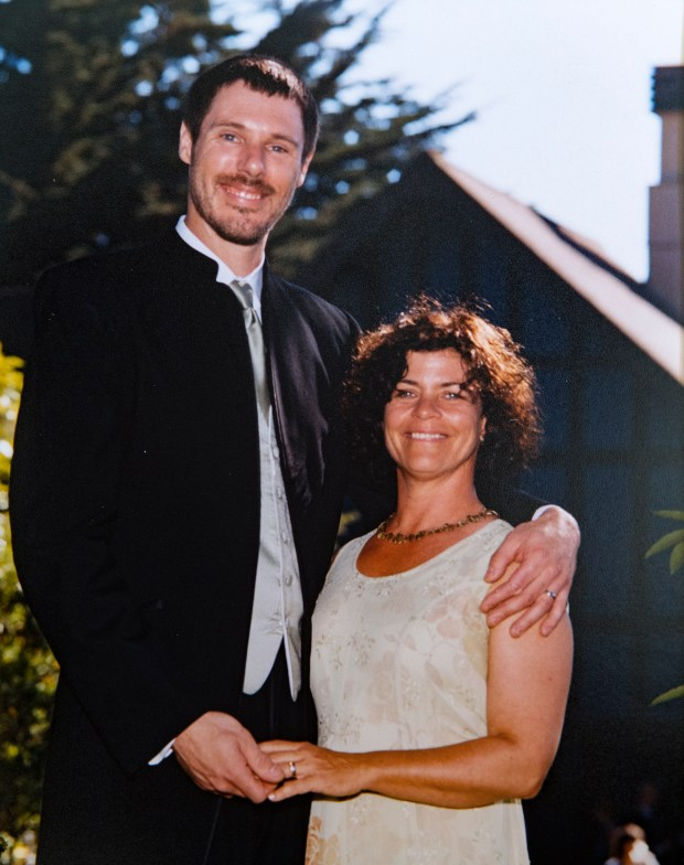 Wedding portrait of Jil Finnegan, right, and Geoff Protz, left, who were married in San Francisco, California on Saturday, September 20, 2003. Finnegan, who has cancer, has opted to die under California's right-to-die law on her wedding anniversary. (Photo courtesy of Geoff Protz)