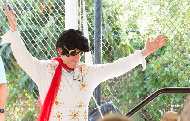 Cancer CAREpoint Executive Director Rob Tufel clows around as Elvis duringthe nonprofit's Garden Party fundraiser in Saratoga on Aug. 27, 2017. (Photograph courtesy of Ed Stahl/Travel Advisors of Los Gatos)