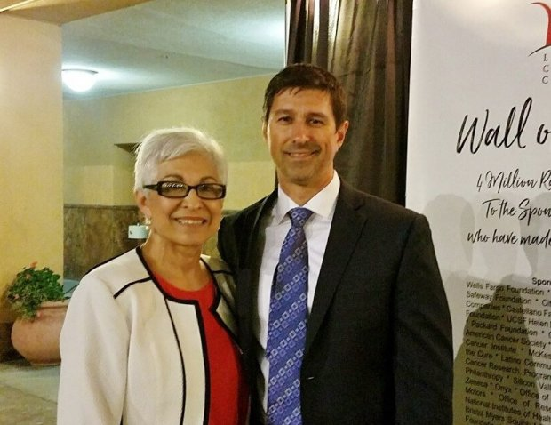 Latinas Contra Cancer Founder Isabel Duron and her son, Paul Gleason, atits 14th anniversary celebration at the Mexican Heritage Plaza in San Jose on Sept. 28, 2017. (Photo courtesy PRxDigital)