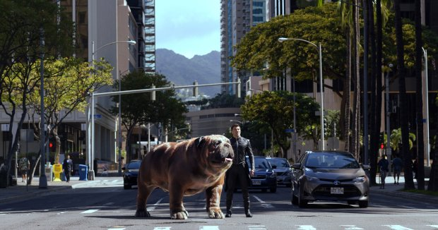 "Lockjaw and Anson Mount in ""Marvel's Inhumans."" (ABC/Marvel)"