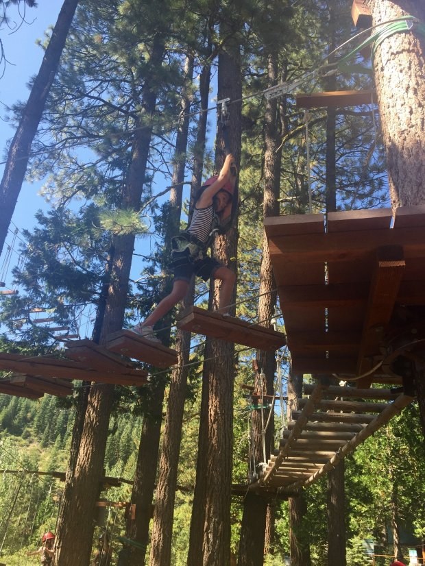Tahoe City's Treetop Adventure Park is tucked next to the Granlibakken lodge and conference center. (Karen D'Souza)