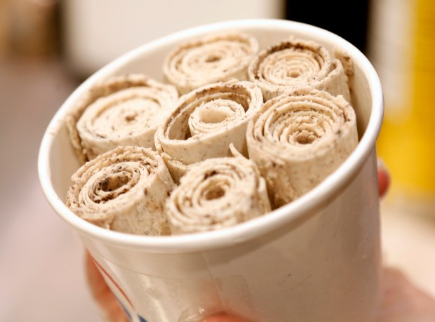 Rolled ice cream before having toppings added at Icicles in Willow Glen in San Jose, Calif., on Wednesday, Sept. 7, 2016. Icicles serves Thai-style rolled ice cream. (Nhat V. Meyer/Bay Area News Group)
