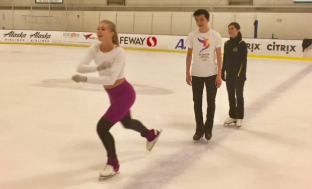Polina Edmunds (front) says she has recovered from a foot injury headinginto the Grand Prix season. She is skating Sunday Sept. 3, 2017 in San Jose in Golden Moments, a fundraising show for Kristi Yamaguchi (back), and includes Palo Alto's Vincent Zhou (center). (Photo by Elliott Almond/ Bay Area News Group).