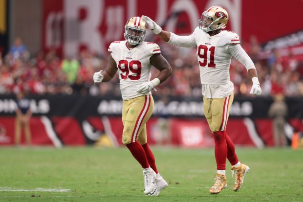 GLENDALE, AZ - OCTOBER 01: Defensive tackle DeForest Buckner #99 and defensive end Arik Armstead #91 of the San Francisco 49ers react after a defensive stop during the second half of the NFL game against the Arizona Cardinals at the University of Phoenix Stadium on October 1, 2017 in Glendale, Arizona. (Photo by Christian Petersen/Getty Images)