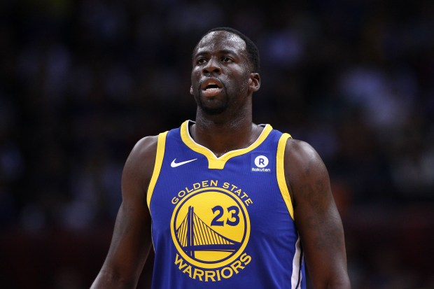 SHENZHEN, CHINA - OCTOBER 05: Draymond Green #23 of the Golden State Warriors looks on during the game between the Minnesota Timberwolves and the Golden State Warriors as part of 2017 NBA Global Games China at Universidade Center on October 5, 2017 in Shenzhen, China. (Photo by Zhong Zhi/Getty Images)