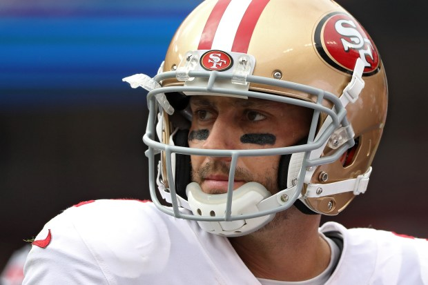 LANDOVER, MD - OCTOBER 15: Quarterback Brian Hoyer #2 of the San Francisco 49ers looks on against the Washington Redskins during the first quarter at FedExField on October 15, 2017 in Landover, Maryland. (Photo by Patrick Smith/Getty Images)