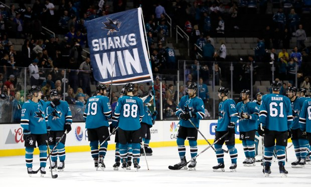 The Sharks celebrate their second win of the season Tuesday after they beat the Montreal Canadiens 5-2 on Tuesday at SAP Center.