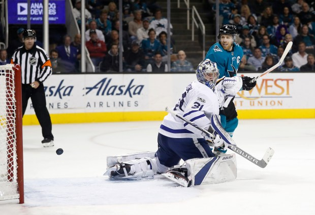 Toronto Maple Leafs' Frederik Andersen (31) and San Jose Sharks' Joe Pavelski (8) look back as San Jose Sharks' Tim Heed (72) scores in the third period of their NHL game at SAP Center in San Jose, Calif. on Monday, October 30, 2017. (Josie Lepe/Bay Area News Group)