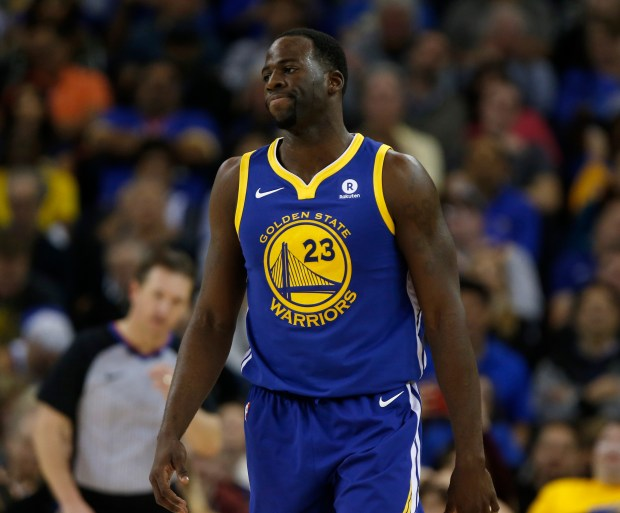 Golden State Warriors' Draymond Green (23) reacts to a play against the Detroit Pistons in the fourth quarter at Oracle Arena in Oakland, Calif. on Sunday, Oct. 29, 2017. (Nhat V. Meyer/Bay Area News Group)