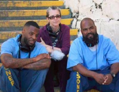 "The ""Ear Hustle"" podcast team at San Quentin State Prison includes, from left, inmate Earlonne Woods, volunteer Nigel Poor and inmate Antwan Williams. (Eddie Herena photo)"