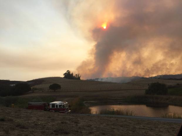 Smoke from the Nuns fire is visible from the nearby Fontanella Family Winery in Napa. (Courtesy of Fontanella Family Winery)