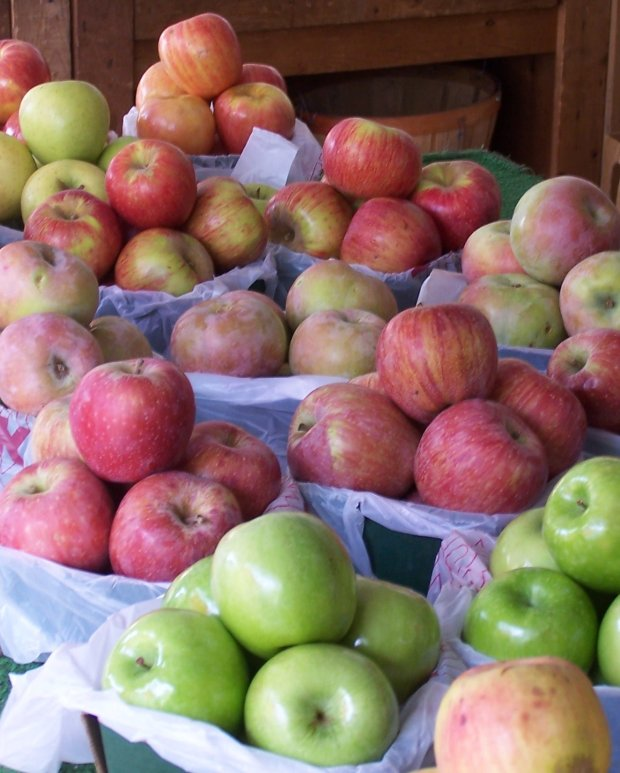 Different varieties of apples are on sale at The Red Apple Bakery & FruitStand, just outside Arnold.