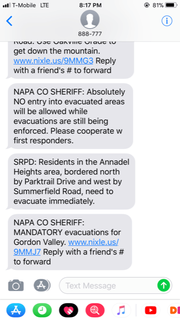 A screen shot of Nixle text messages that Napa Valley residents have received during the wildfires.