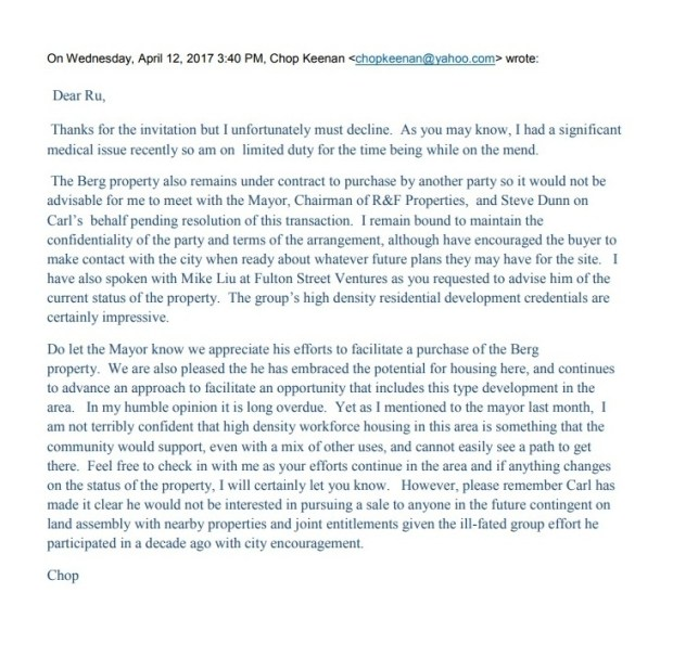 A copy of the emails from Mayor Sam Liccardo's office related to an alternative development in the Evergreen area