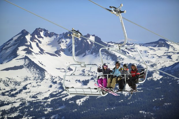Part of Oregon's spectacular Cascade range, Mt. Bachelor draw families andthrill-seekers alike. The ski resort's average snowfall is more than 460 inches each year. (Central Oregon)