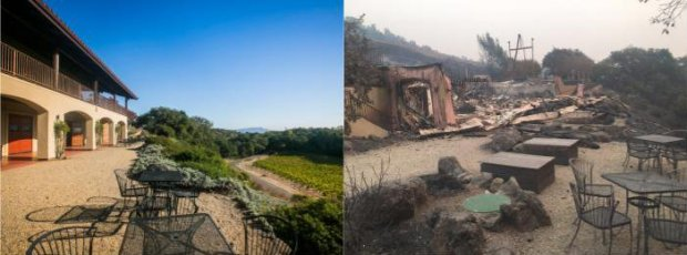 Paradise Valley Ridge Winery in Kenwood before and after the Tubbs Firedestroyed it on Oct. 9, 2017. (Photos courtesy of Paradise Valley Ridge Winery)