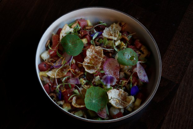 The Tuna Bhel, a dish of avocado, tamarind gel, puffed black rice, green mango and togarashi, is served at Rooh restaurant, Tuesday, October 31, 2017, in San Francisco, California. (Karl Mondon/ Bay Area News Group)
