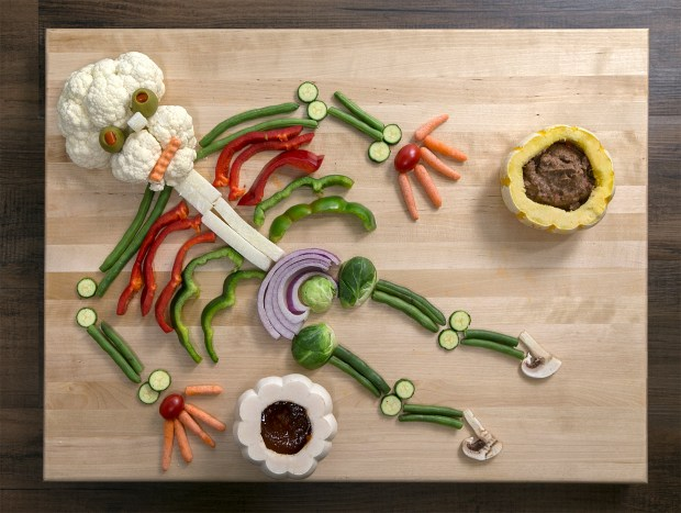 The Ultimate Spooky Halloween Veggie Platter was made in the Mercury News photo studio in San Jose, California on Friday, October 6, 2017. (LiPo Ching/Bay Area News Group)
