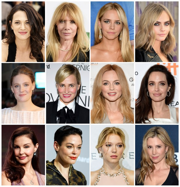 This combination photo shows actresses listed in alphabetical order, top row from left, Asia Argento, Rosanna Arquette, Jessica Barth, Cara Delevingne, Romola Garai, Judith Godreche, Heather Graham, Angelina Jolie, Ashley Judd, Rose McGowan, Lea Seydoux and Mira Sorvino, who have made allegations against producer Harvey Weinstein. (AP Photo/File)