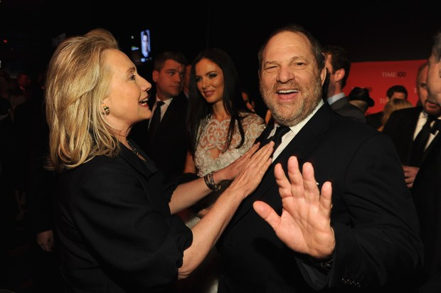 NEW YORK, NY - APRIL 24: Secretary of State Hillary Rodham Clinton and producer Harvey Weinstein attend the TIME 100 Gala, TIME'S 100 Most Influential People In The World, cocktail party at Jazz at Lincoln Center on April 24, 2012 in New York City. (Photo by Larry Busacca/Getty Images for TIME)