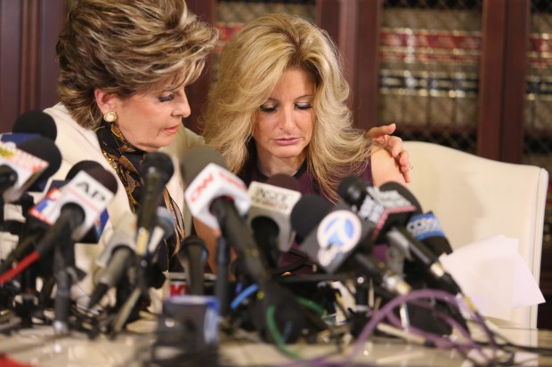 "LOS ANGELES, CA - OCTOBER 14: Attorney Gloria Allred (L) holds a press conference with Summer Zervos, a former candidate on ""The Apprentice"" season five, who is accusing Donald Trump of inappropriate sexual conduct October 14, 2016 in Los Angeles, California. This is the first time the accuser has spoken publicly about the alleged incident. (Photo by Frederick M. Brown/Getty Images)"