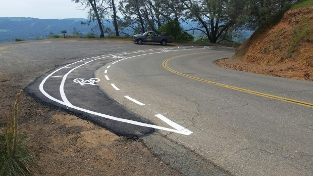 One of three trial bike turnouts that have been installed on Mount Diablo to enable motorists to safely pass at blind turns. (Photo courtesy of Al Kalin)