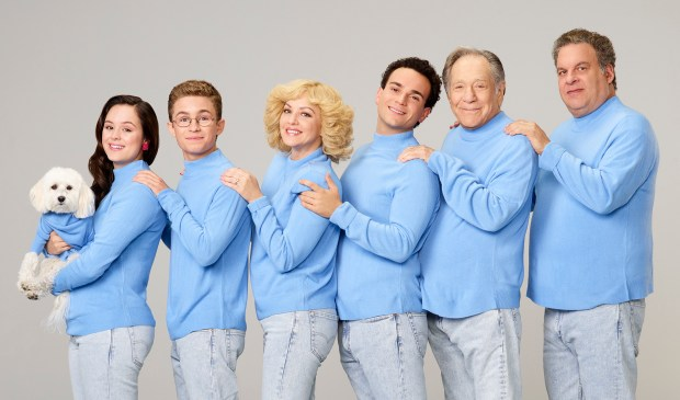 "THE GOLDBERGS - ABC's ""The Goldbergs"" stars Hayley Orrantia as Erica Goldberg, Sean Giambrone as Adam Goldberg, Wendi McLendon-Covey as Beverly Goldberg, Troy Gentile as Barry Goldberg, George Segal as Pops Solomon and Jeff Garlin as Murray Goldberg. (ABC/Craig Sjodin)"
